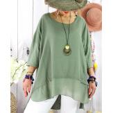 T- shirt femme grande taille été coton lin JESSE Kaki-Tee shirt tunique femme grande taille-CHARLESELIE94