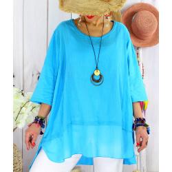T- shirt femme grande taille été coton lin JESSE Turquoise-Tee shirt tunique femme grande taille-CHARLESELIE94