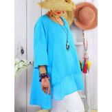 T- shirt femme grande taille été coton lin JESSE Turquoise Tee shirt tunique femme grande taille