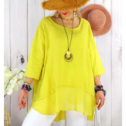 T- shirt femme grande taille été coton lin JESSE Jaune-Tee shirt tunique femme grande taille-CHARLESELIE94