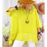 T- shirt femme grande taille été coton lin JESSE Jaune Tee shirt tunique femme grande taille