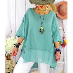T- shirt femme grande taille été coton lin JESSE vert jade-Tee shirt tunique femme grande taille-CHARLESELIE94