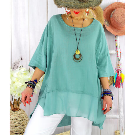 T- shirt femme grande taille été coton lin JESSE vert jade Tee shirt tunique femme grande taille