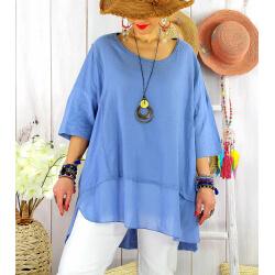 T- shirt femme grande taille été coton lin JESSE Bleu-Tee shirt tunique femme grande taille-CHARLESELIE94