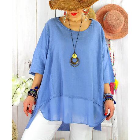 T- shirt femme grande taille été coton lin JESSE Bleu Tee shirt tunique femme grande taille