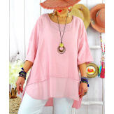 T- shirt femme grande taille été coton lin JESSE Rose-Tee shirt tunique femme grande taille-CHARLESELIE94