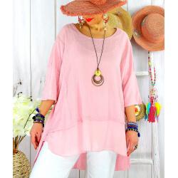 T- shirt femme grande taille été coton lin JESSE Rose Tee shirt tunique femme grande taille