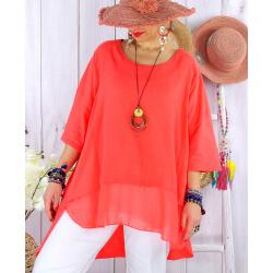 T- shirt femme grande taille été coton lin JESSE Corail Tee shirt tunique femme grande taille
