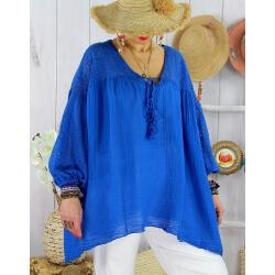 Tunique grande taille dentelle bohème été BALI Bleu roi-Tunique dentelle femme-CHARLESELIE94