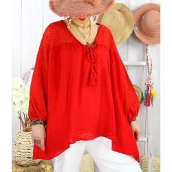 Tunique grande taille dentelle bohème été BALI Rouge-Tunique dentelle femme-CHARLESELIE94