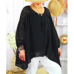 Tunique grande taille dentelle bohème été BALI Noir-Tunique dentelle femme-CHARLESELIE94