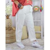 Pantalon femme grande taille stretch TOSCANE Blanc Pantalon femme grande taille