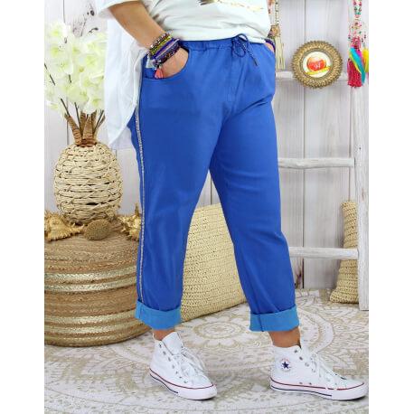 Pantalon femme grande taille stretch TOSCANE Bleu roi-Pantalon femme grande taille-CHARLESELIE94