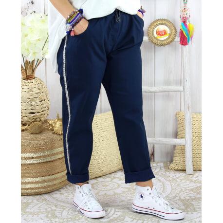 Pantalon femme grande taille stretch TOSCANE Marine Pantalon femme grande taille