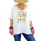 T-shirt grande taille femme bohème hippie SOUL Blanc-Tee shirt tunique femme grande taille-CHARLESELIE94