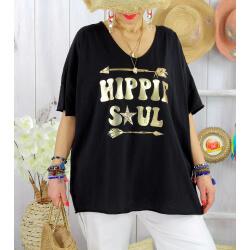T-shirt grande taille femme bohème hippie SOUL Noir-Tee shirt tunique femme grande taille-CHARLESELIE94