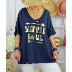 T-shirt grande taille femme bohème hippie SOUL Marine-Tee shirt tunique femme grande taille-CHARLESELIE94