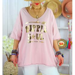 T-shirt grande taille femme bohème hippie SOUL Rose-Tee shirt tunique femme grande taille-CHARLESELIE94