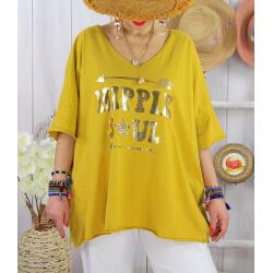 T-shirt grande taille femme bohème hippie SOUL Moutarde-Tee shirt tunique femme grande taille-CHARLESELIE94