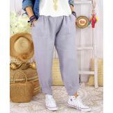 Pantalon femme grande taille lin été original FEMINA Gris clair Pantalon femme