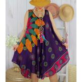 Robe grande taille été évasée asymétrique violet MEXICO-Robe été femme-CHARLESELIE94