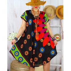 Robe tunique grande taille été asymétrique MAURANE Noire-Robe tunique femme-CHARLESELIE94