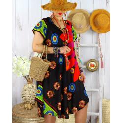 Robe tunique grande taille été asymétrique MAURANE Noire Robe tunique femme