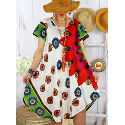 Robe tunique grande taille été asymétrique MAURANE Blanche-Robe tunique femme-CHARLESELIE94