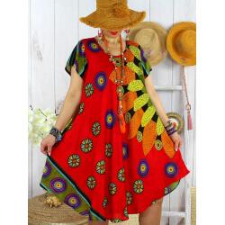 Robe tunique grande taille été asymétrique MAURANE Corail-Robe tunique femme-CHARLESELIE94