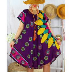 Robe tunique grande taille été asymétrique MAURANE Violet-Robe tunique femme-CHARLESELIE94