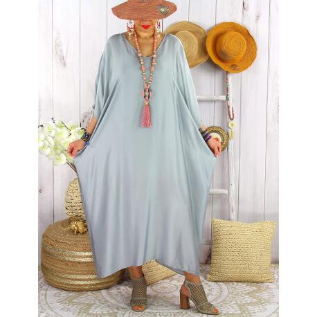 Robe longue caftan été grande taille satin PARADIS Gris-Robe longue grande taille-CHARLESELIE94