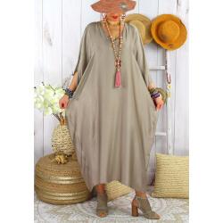 Robe longue caftan été grande taille satin PARADIS Taupe-Robe longue grande taille-CHARLESELIE94
