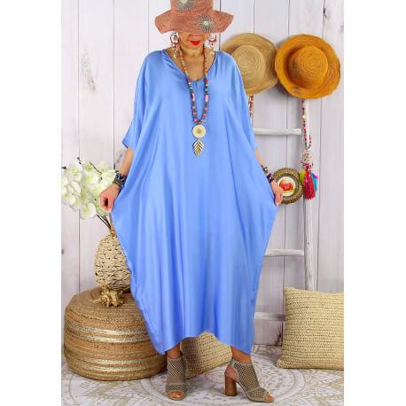Robe longue caftan été grande taille satin PARADIS Bleu-Robe longue grande taille-CHARLESELIE94