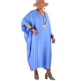 Robe longue caftan été grande taille satin PARADIS Bleu Robe longue grande taille