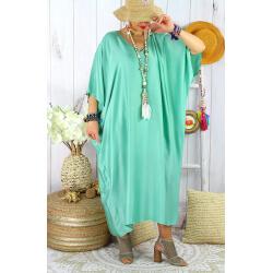 Robe longue caftan été grande taille satin PARADIS Amande Robe longue grande taille