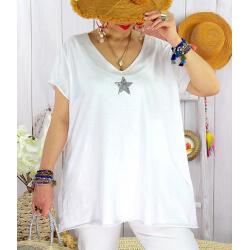T-shirt coton femme grande taille été étoile SPACE Blanc Tee shirt tunique femme grande taille