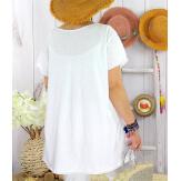 T-shirt coton femme grande taille été étoile SPACE Blanc-Tee shirt tunique femme grande taille-CHARLESELIE94