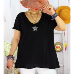 T-shirt coton femme grande taille été étoile SPACE Noir-Tee shirt tunique femme grande taille-CHARLESELIE94