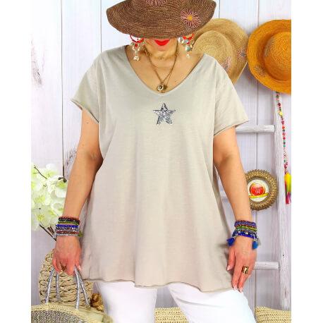 T-shirt coton femme grande taille été étoile SPACE Beige Tee shirt tunique femme grande taille