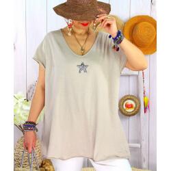 T-shirt coton femme grande taille été étoile SPACE Beige-Tee shirt tunique femme grande taille-CHARLESELIE94