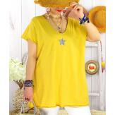 T-shirt coton femme grande taille été étoile SPACE Jaune Tee shirt tunique femme grande taille