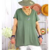 T-shirt coton femme grande taille été étoile SPACE Kaki Tee shirt tunique femme grande taille