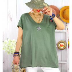 T-shirt coton femme grande taille été étoile SPACE Kaki-Tee shirt tunique femme grande taille-CHARLESELIE94