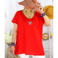 T-shirt coton femme grande taille été étoile SPACE Rouge-Tee shirt tunique femme grande taille-CHARLESELIE94