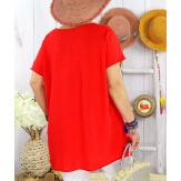 T-shirt coton femme grande taille été étoile SPACE Rouge Tee shirt tunique femme grande taille