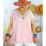 T-shirt coton femme grande taille été étoile SPACE Rose-Tee shirt tunique femme grande taille-CHARLESELIE94