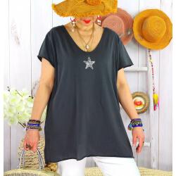 T-shirt coton femme grande taille été étoile SPACE Gris-Tee shirt tunique femme grande taille-CHARLESELIE94