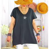 T-shirt coton femme grande taille été étoile SPACE Gris Tee shirt tunique femme grande taille