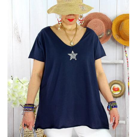 T-shirt coton femme grande taille été étoile SPACE Marine Tee shirt tunique femme grande taille