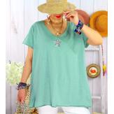 T-shirt coton femme grande taille été étoile SPACE Jade-Tee shirt tunique femme grande taille-CHARLESELIE94
